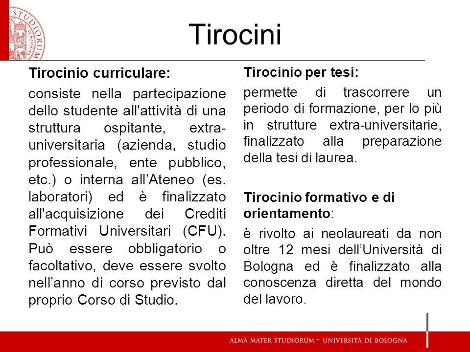 Tirocini Tirocinio curriculare: