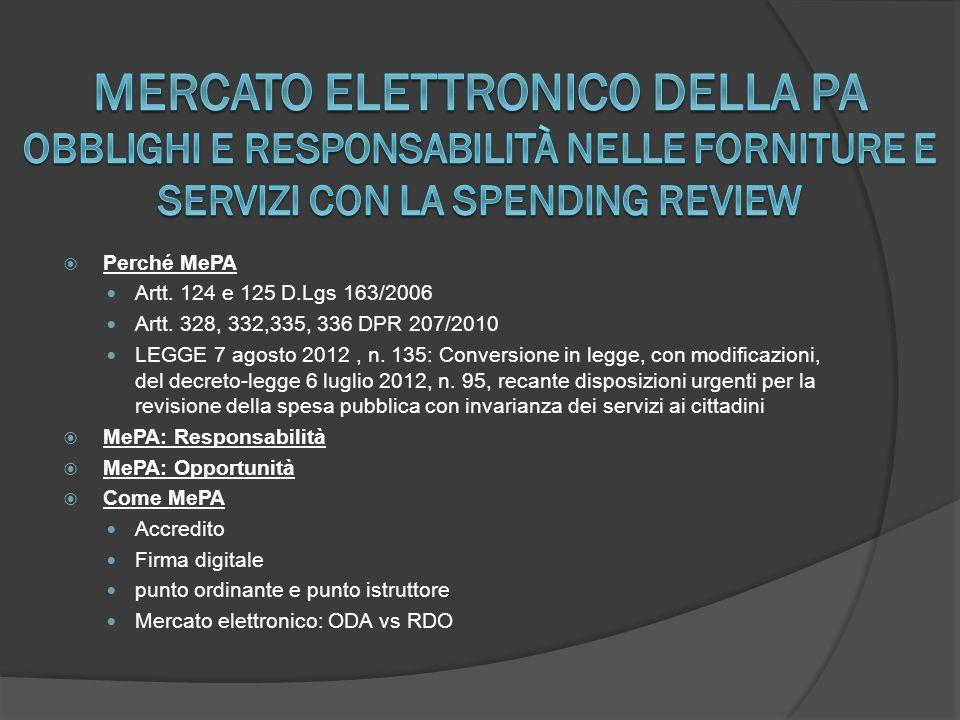 Mercato Elettronico della PA Obblighi e responsabilità nelle forniture e servizi con la spending review