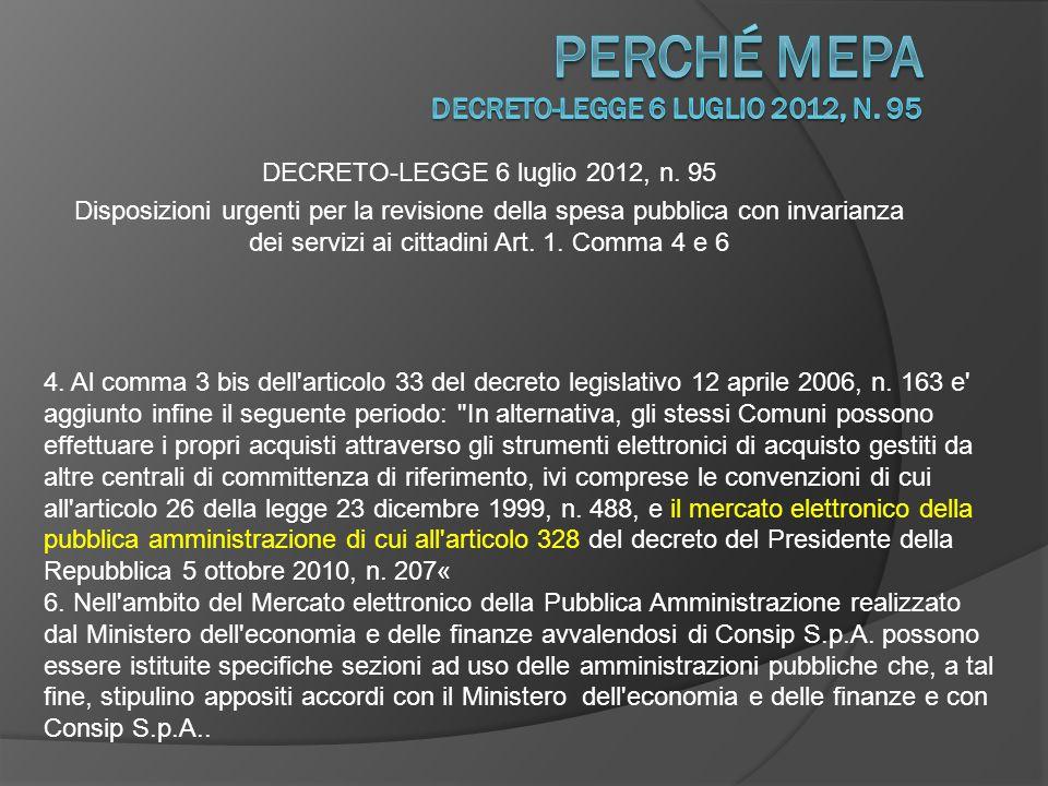 perché Mepa DECRETO-LEGGE 6 luglio 2012, n. 95