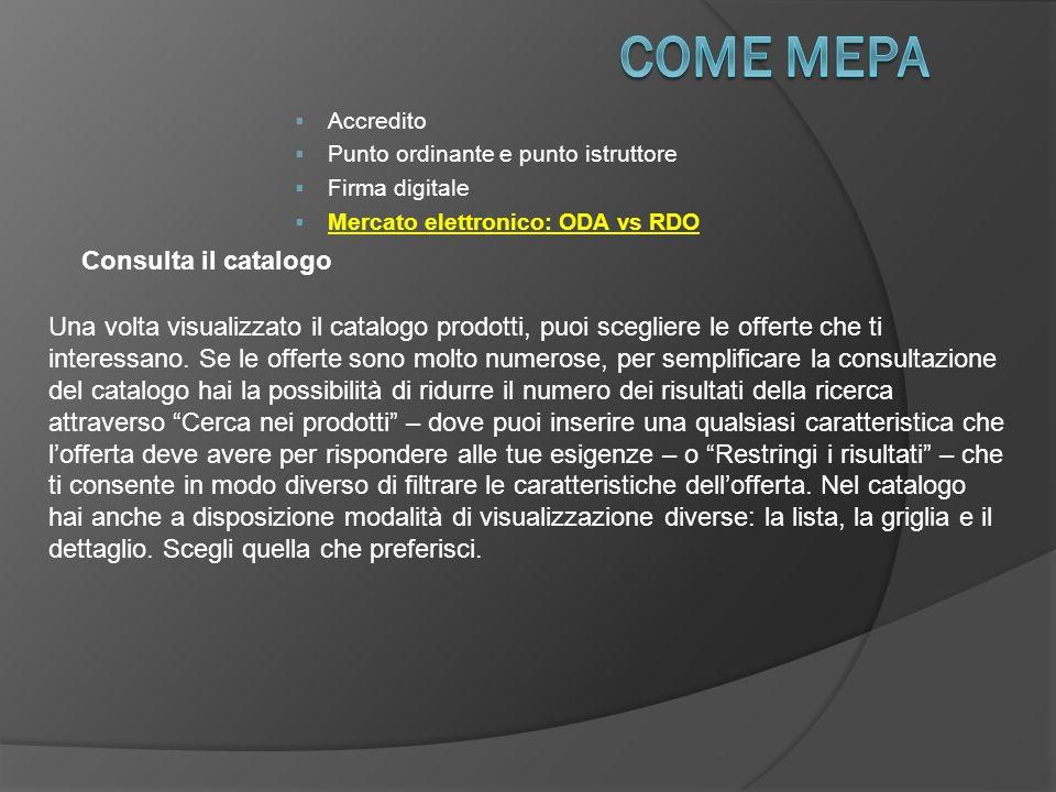 COME Mepa Consulta il catalogo