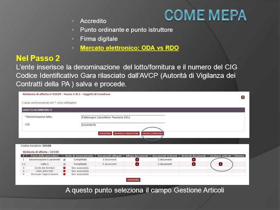 COME Mepa Accredito. Punto ordinante e punto istruttore. Firma digitale. Mercato elettronico: ODA vs RDO.