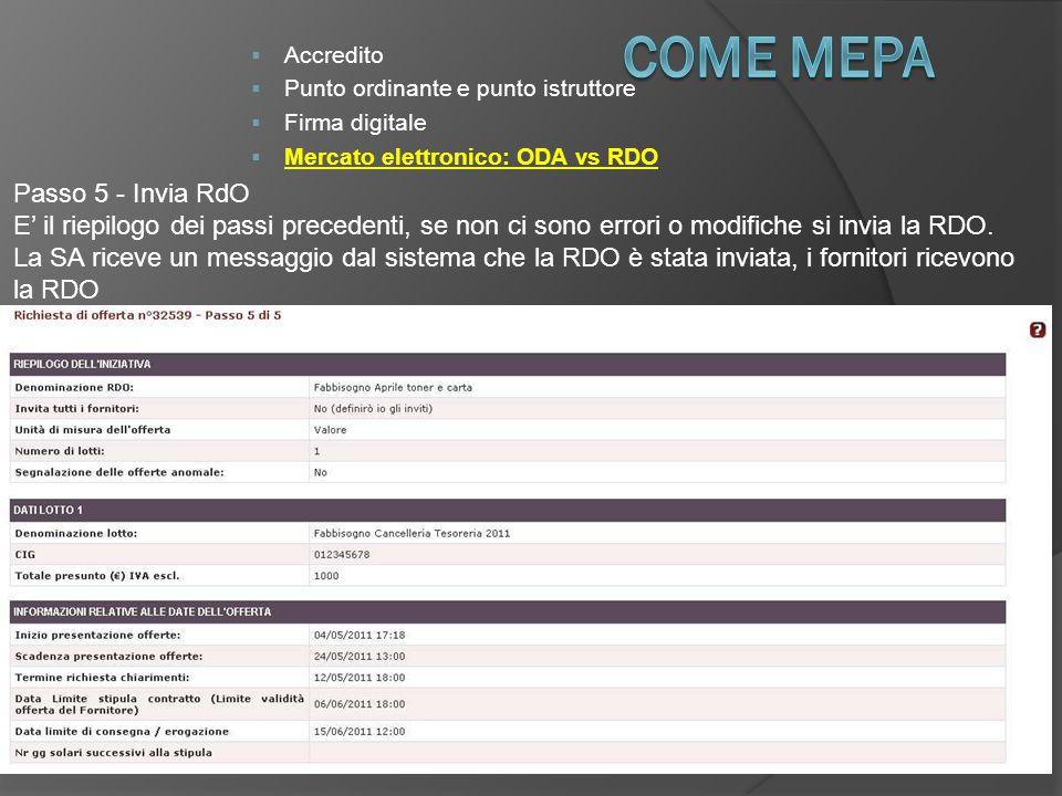 COME Mepa Passo 5 - Invia RdO