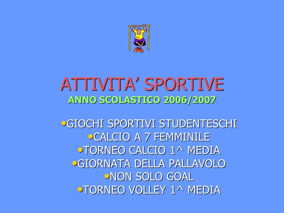 ATTIVITA' SPORTIVE ANNO SCOLASTICO 2006/2007