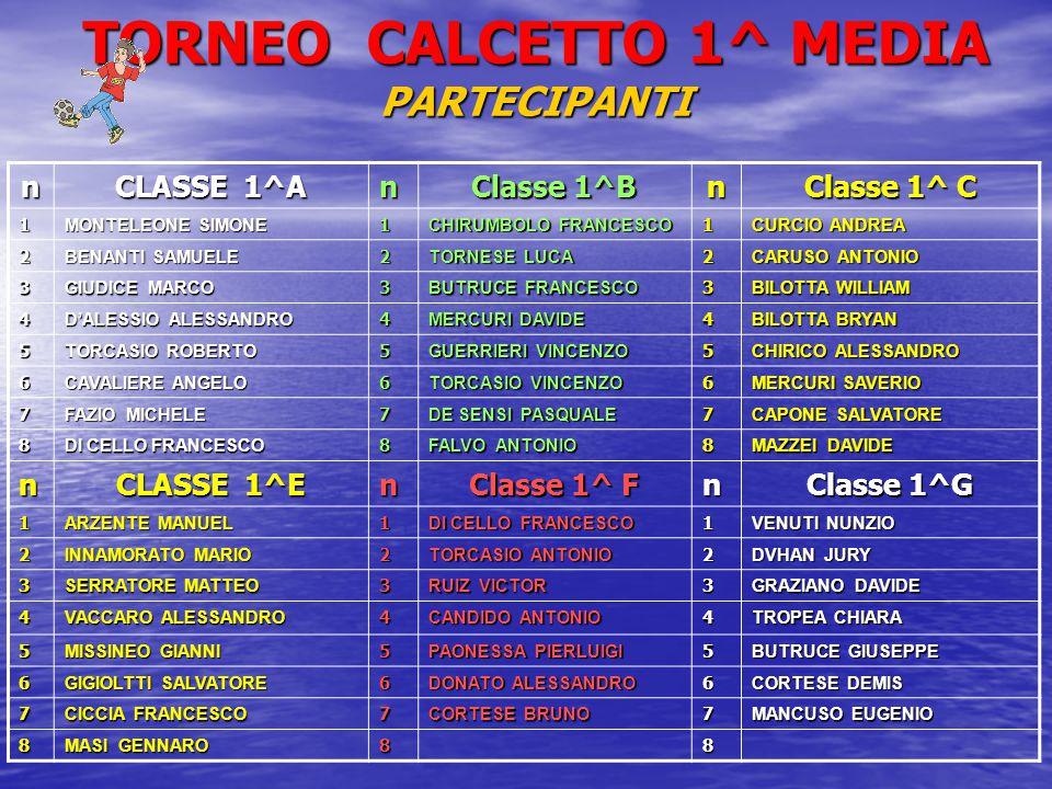 TORNEO CALCETTO 1^ MEDIA PARTECIPANTI