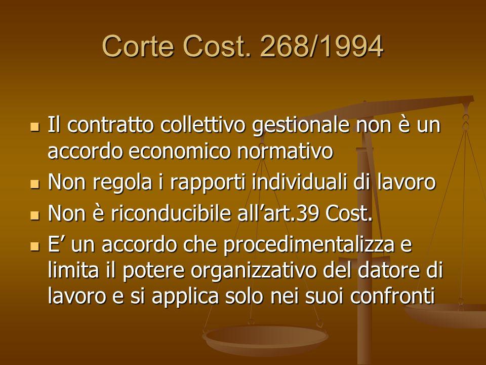 Corte Cost. 268/1994 Il contratto collettivo gestionale non è un accordo economico normativo. Non regola i rapporti individuali di lavoro.