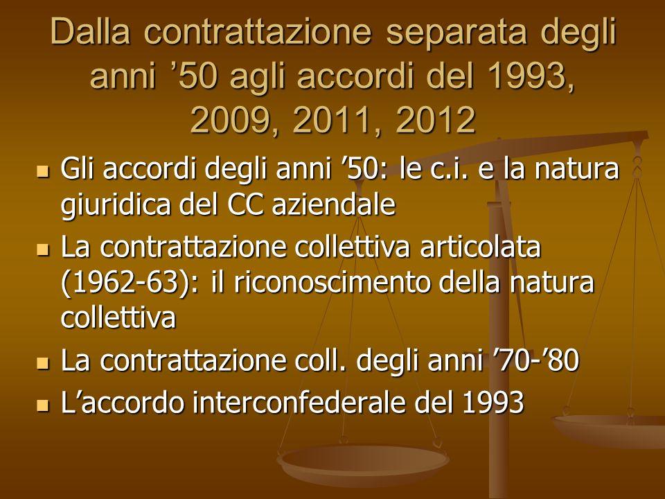 Dalla contrattazione separata degli anni '50 agli accordi del 1993, 2009, 2011, 2012