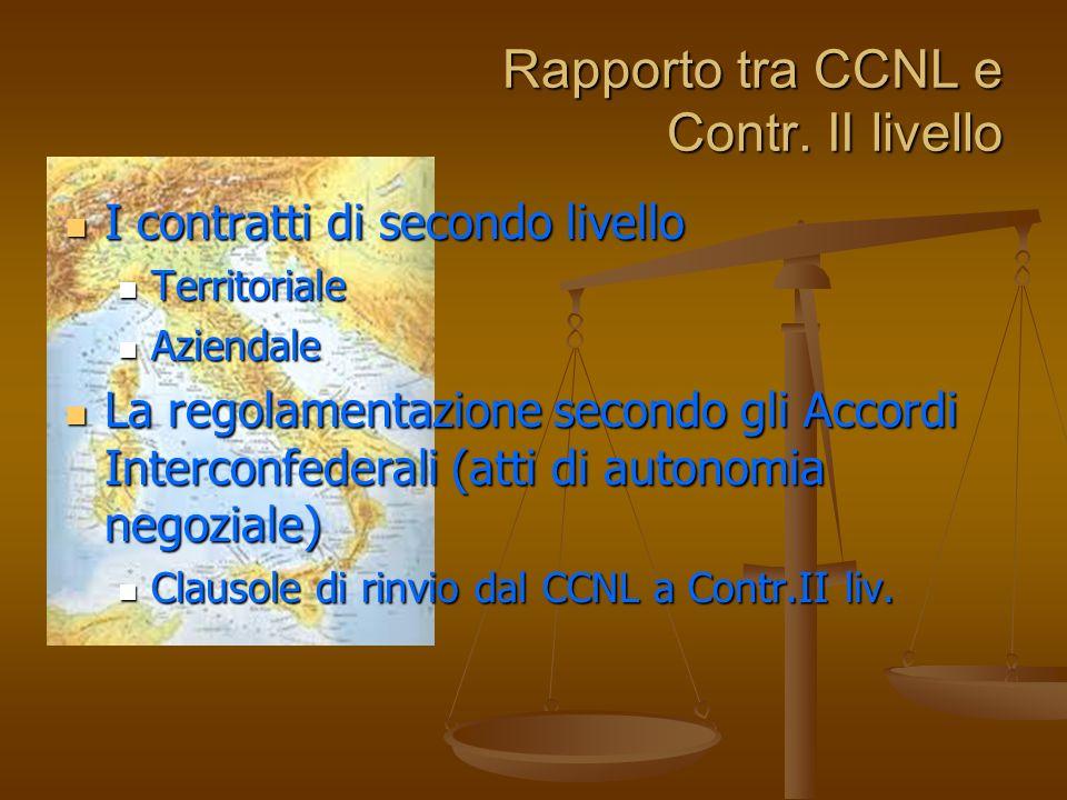 Rapporto tra CCNL e Contr. II livello