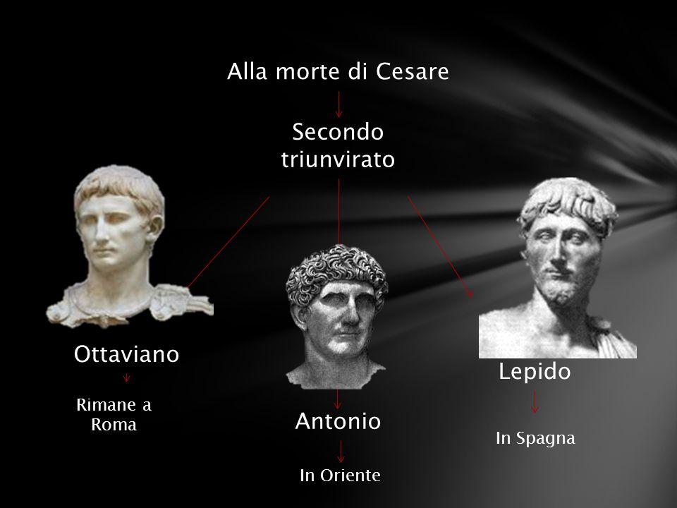 Alla morte di Cesare Secondo triunvirato Ottaviano Lepido Antonio