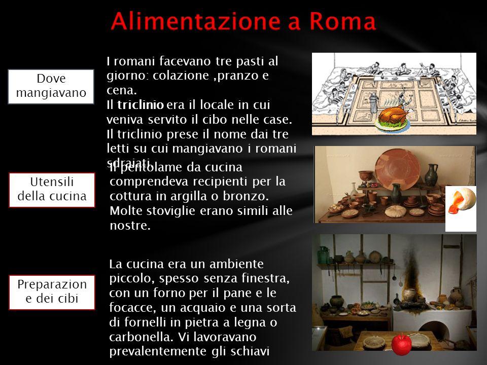 Alimentazione a Roma I romani facevano tre pasti al giorno: colazione ,pranzo e cena.