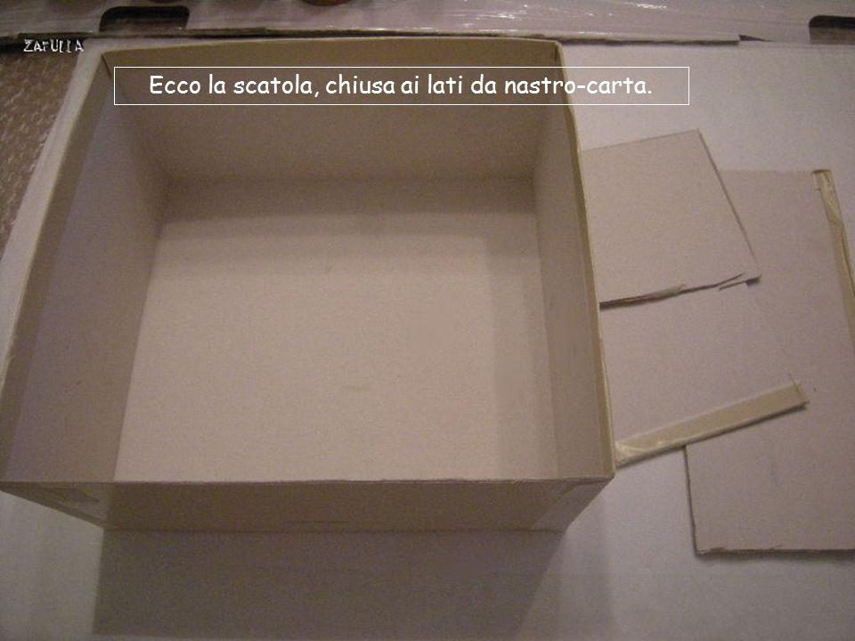 Ecco la scatola, chiusa ai lati da nastro-carta.