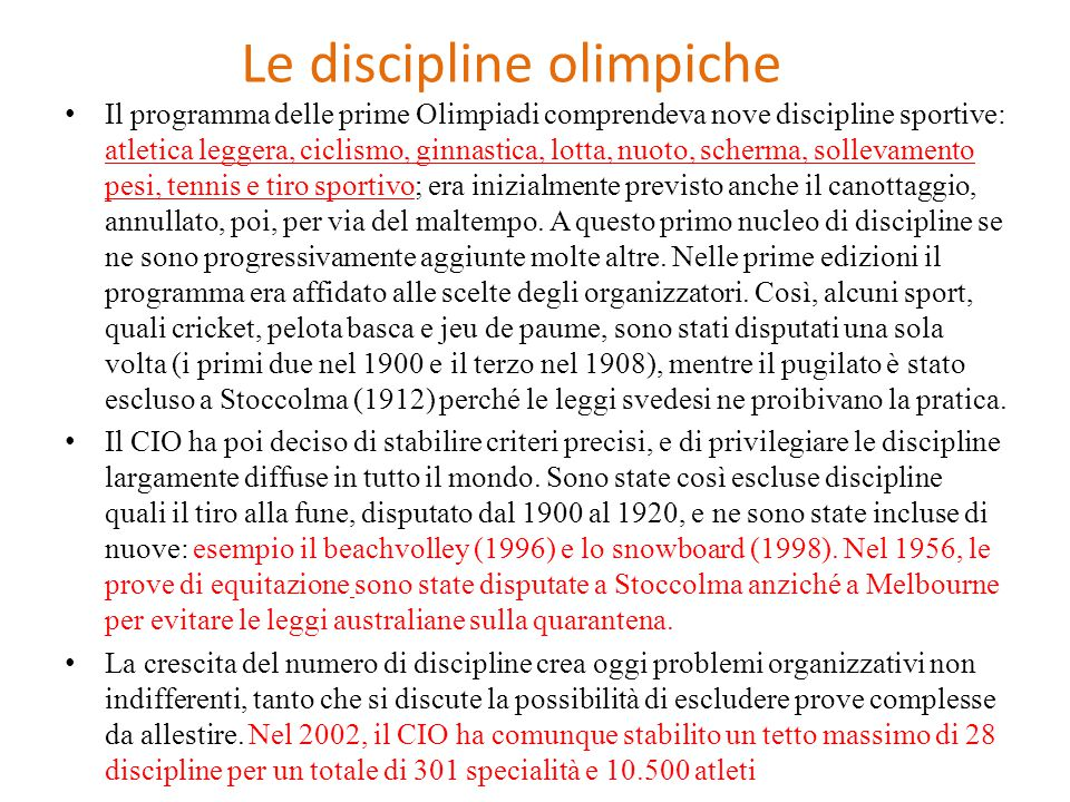 Le discipline olimpiche