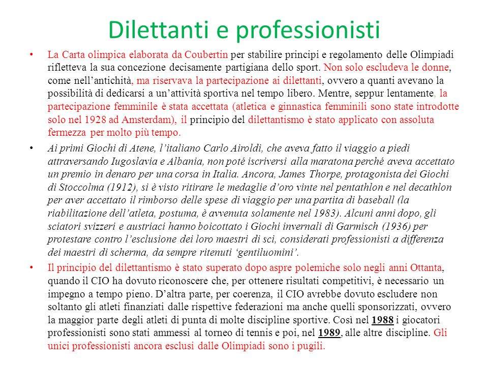 Dilettanti e professionisti