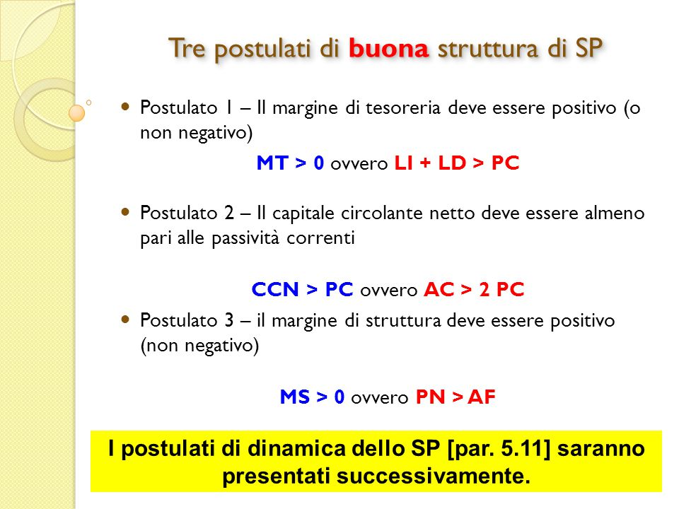 Tre postulati di buona struttura di SP