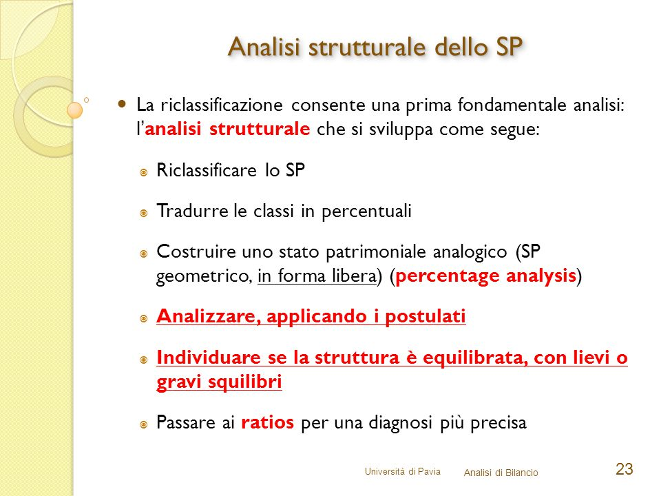 Analisi strutturale dello SP