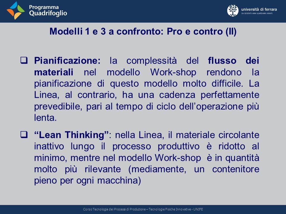 Modelli 1 e 3 a confronto: Pro e contro (II)