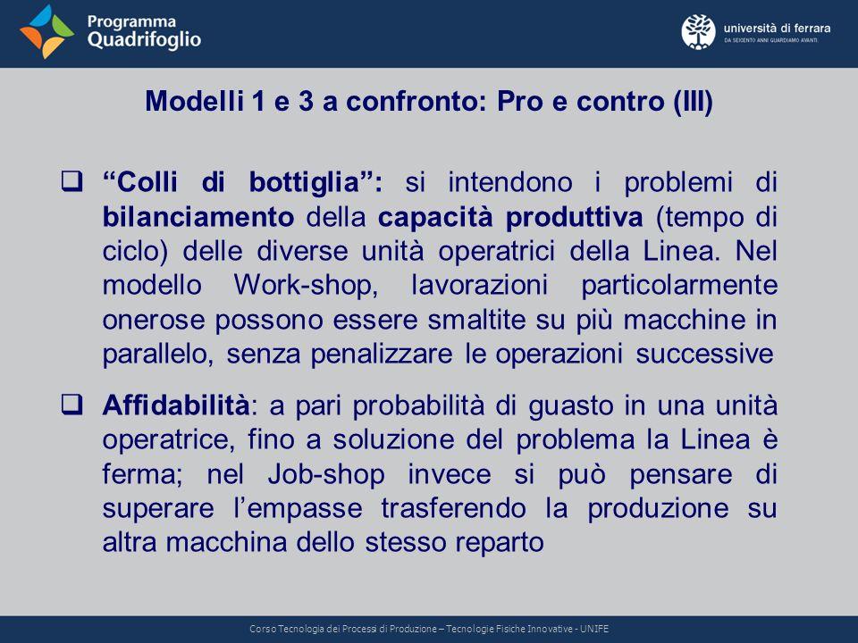 Modelli 1 e 3 a confronto: Pro e contro (III)