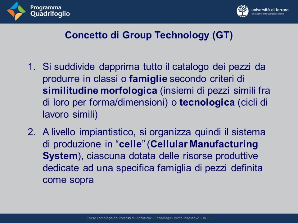 Concetto di Group Technology (GT)