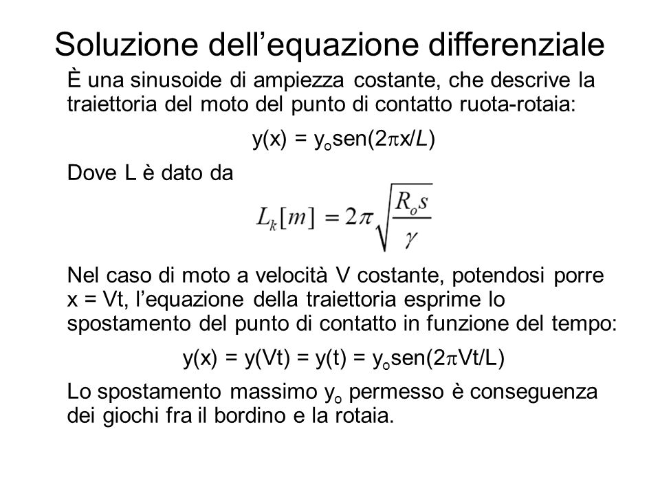 Soluzione dell'equazione differenziale