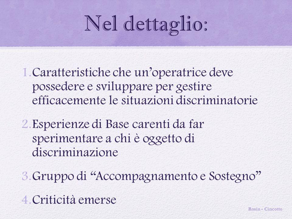 Nel dettaglio: Caratteristiche che un'operatrice deve possedere e sviluppare per gestire efficacemente le situazioni discriminatorie.