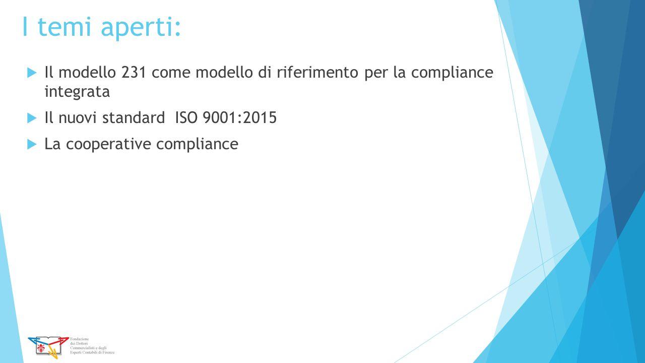 I temi aperti: Il modello 231 come modello di riferimento per la compliance integrata. Il nuovi standard ISO 9001:2015.