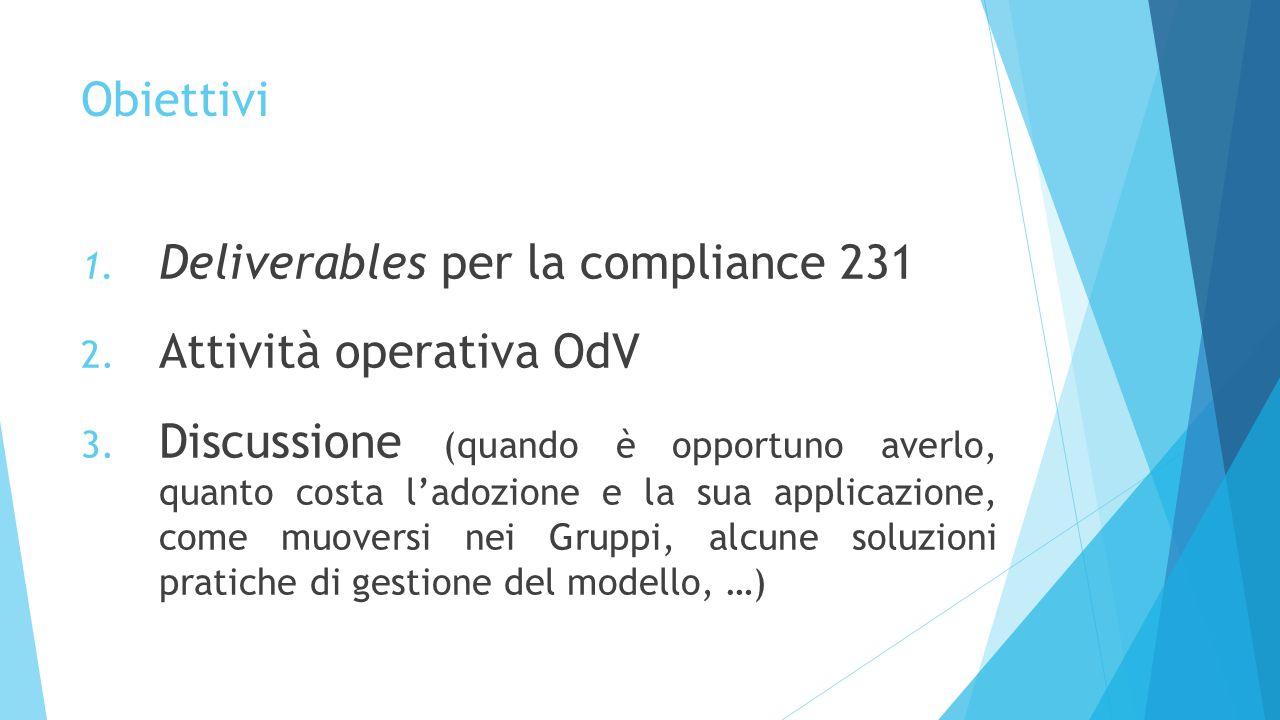 Obiettivi Deliverables per la compliance 231. Attività operativa OdV.