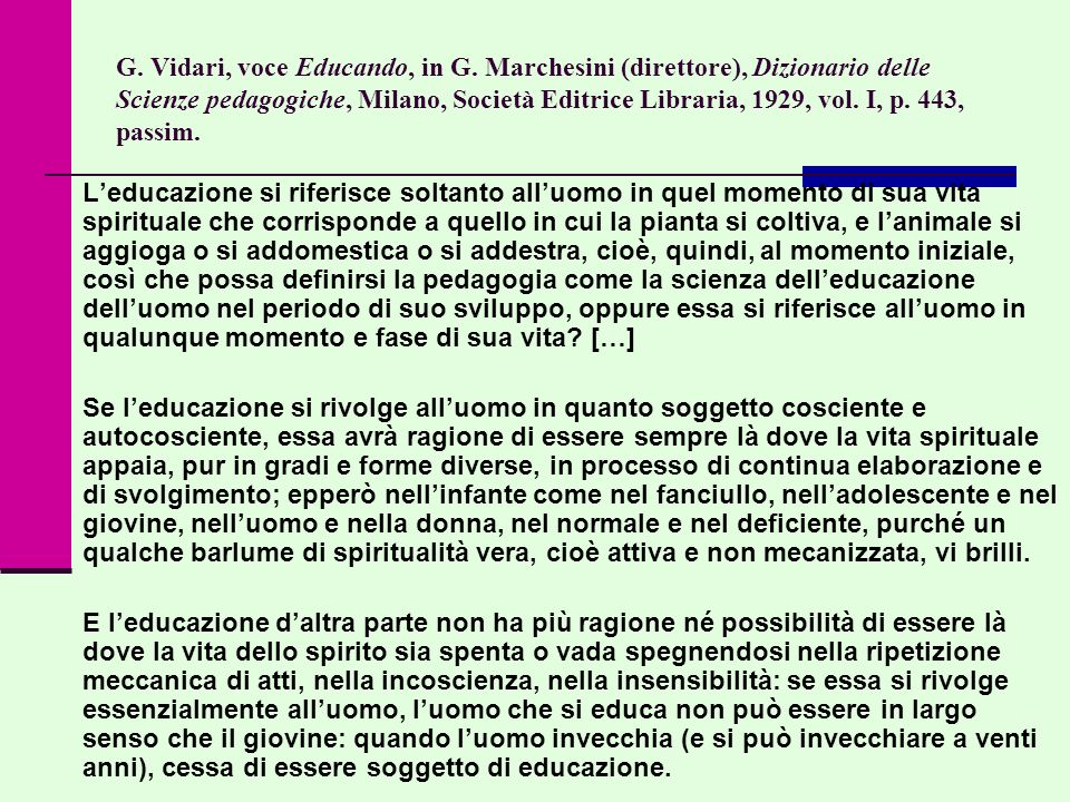 G. Vidari, voce Educando, in G