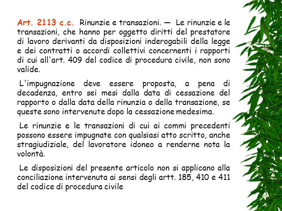 Art. 2113 c. c. Rinunzie e transazioni