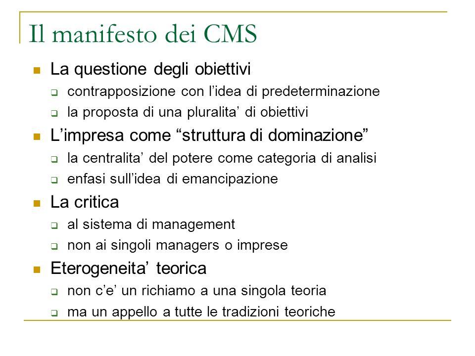Il manifesto dei CMS La questione degli obiettivi