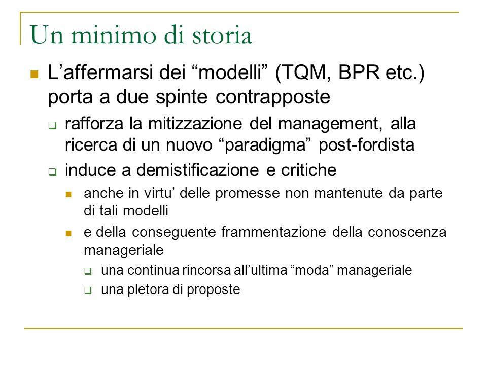 Un minimo di storia L'affermarsi dei modelli (TQM, BPR etc.) porta a due spinte contrapposte.