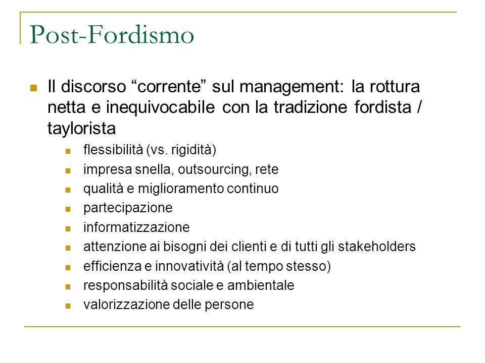 Post-Fordismo Il discorso corrente sul management: la rottura netta e inequivocabile con la tradizione fordista / taylorista.