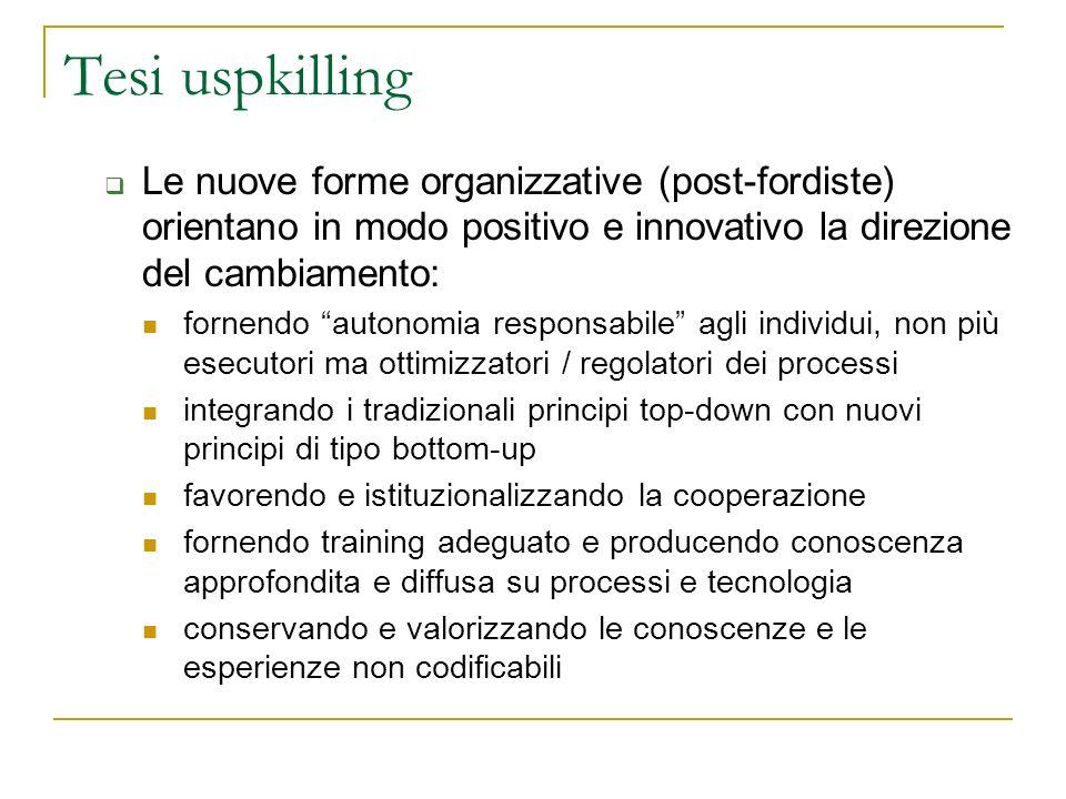 Tesi uspkilling Le nuove forme organizzative (post-fordiste) orientano in modo positivo e innovativo la direzione del cambiamento: