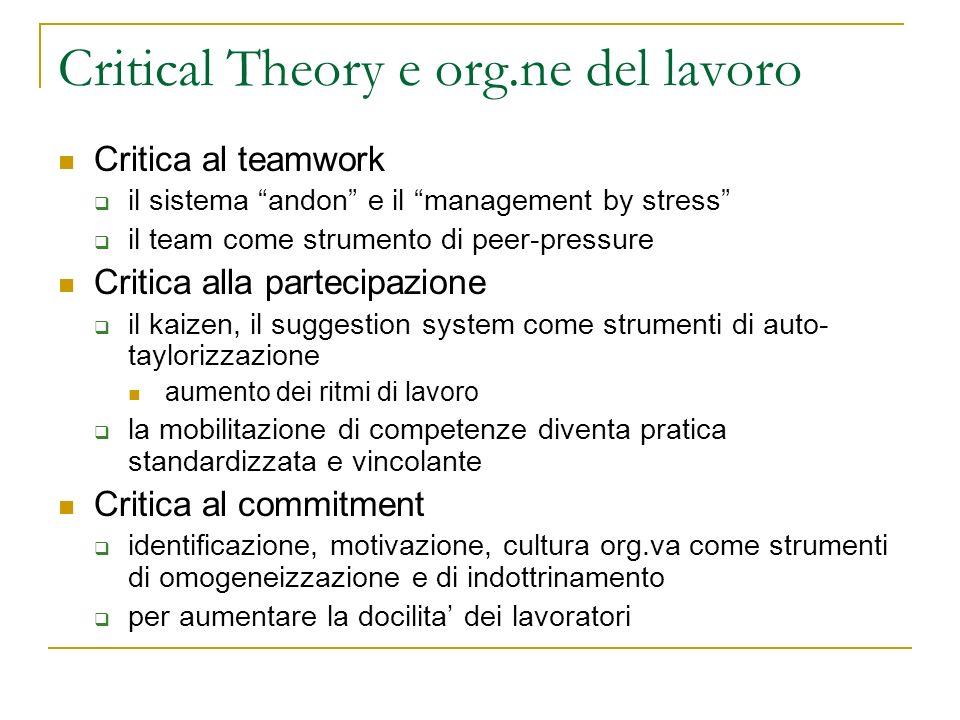 Critical Theory e org.ne del lavoro