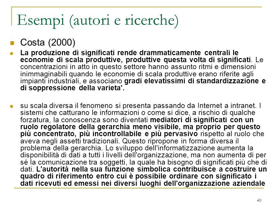 Esempi (autori e ricerche)