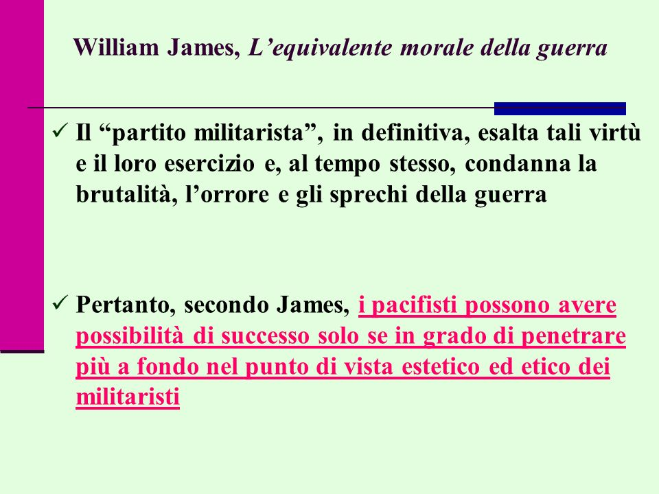 William James, L'equivalente morale della guerra