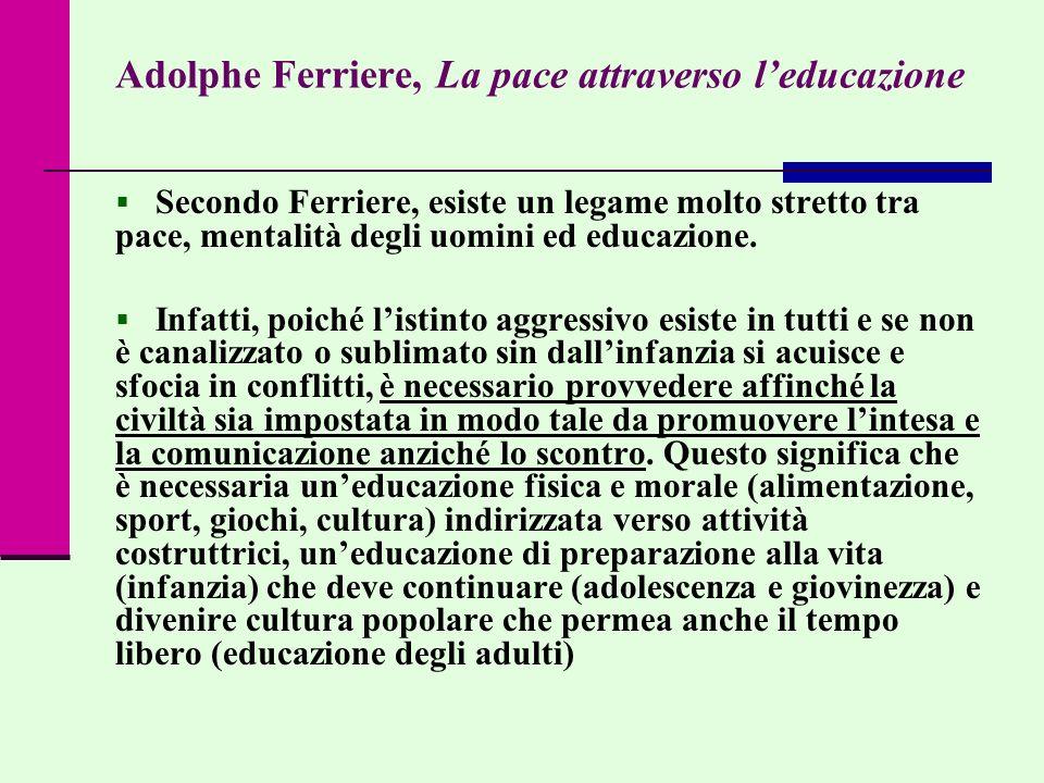 Adolphe Ferriere, La pace attraverso l'educazione