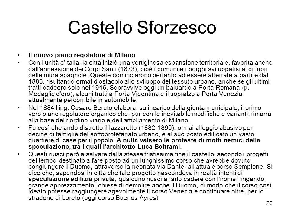 Castello Sforzesco Il nuovo piano regolatore di MIlano