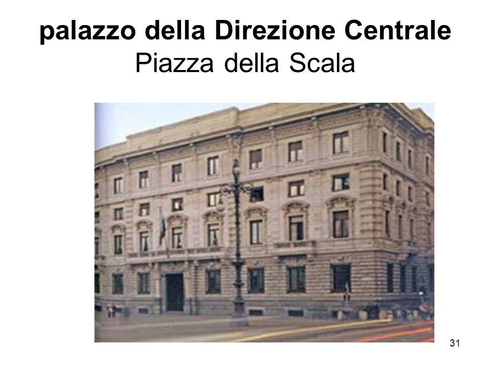 palazzo della Direzione Centrale Piazza della Scala