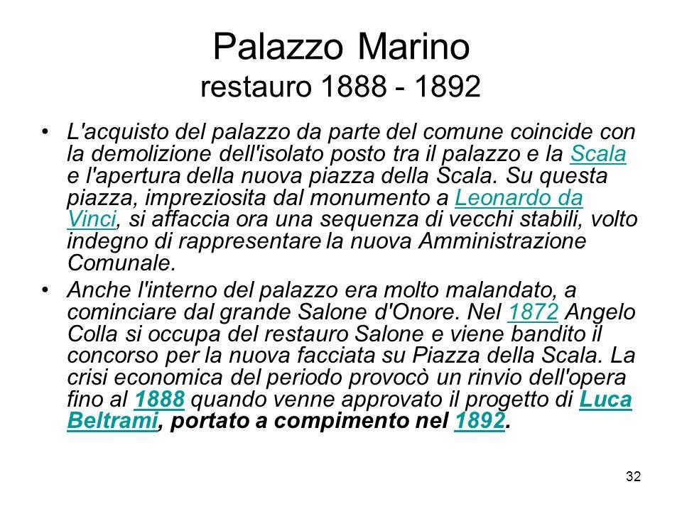 Palazzo Marino restauro 1888 - 1892
