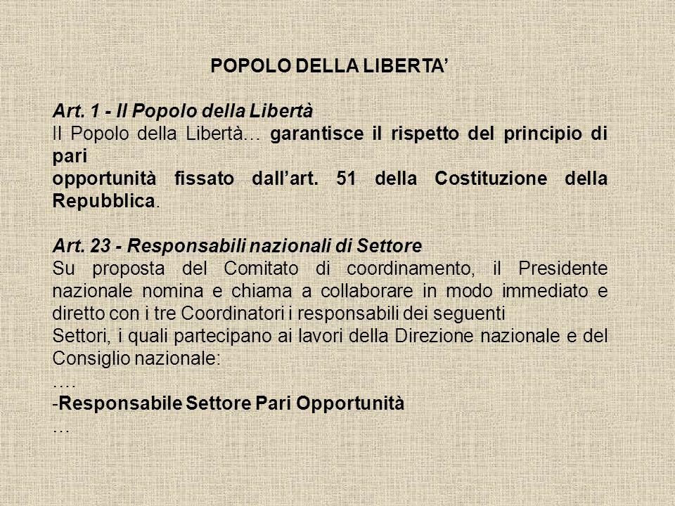 POPOLO DELLA LIBERTA' Art. 1 - Il Popolo della Libertà. Il Popolo della Libertà… garantisce il rispetto del principio di pari.