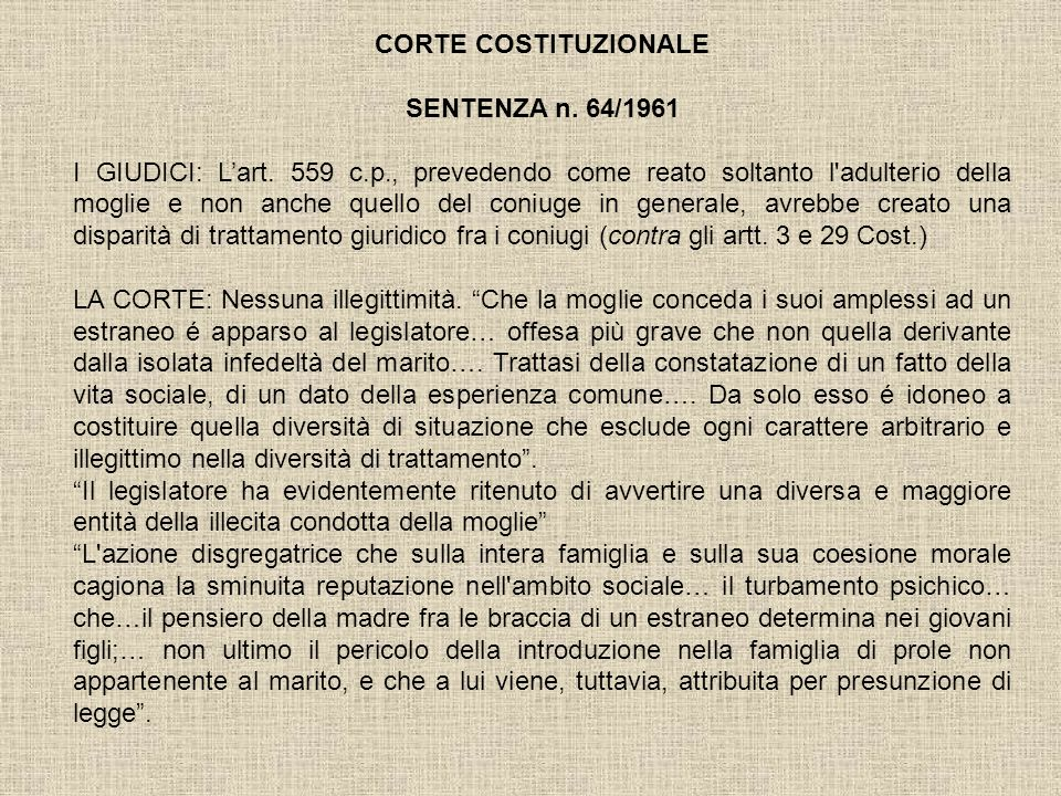 CORTE COSTITUZIONALE SENTENZA n. 64/1961.