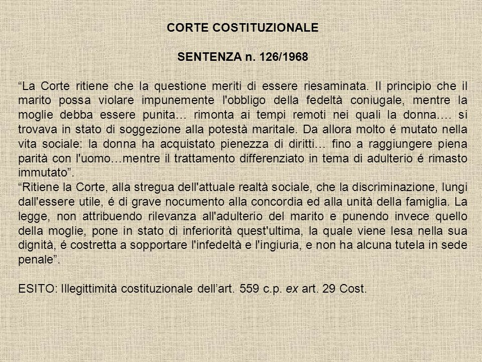 CORTE COSTITUZIONALE SENTENZA n. 126/1968.