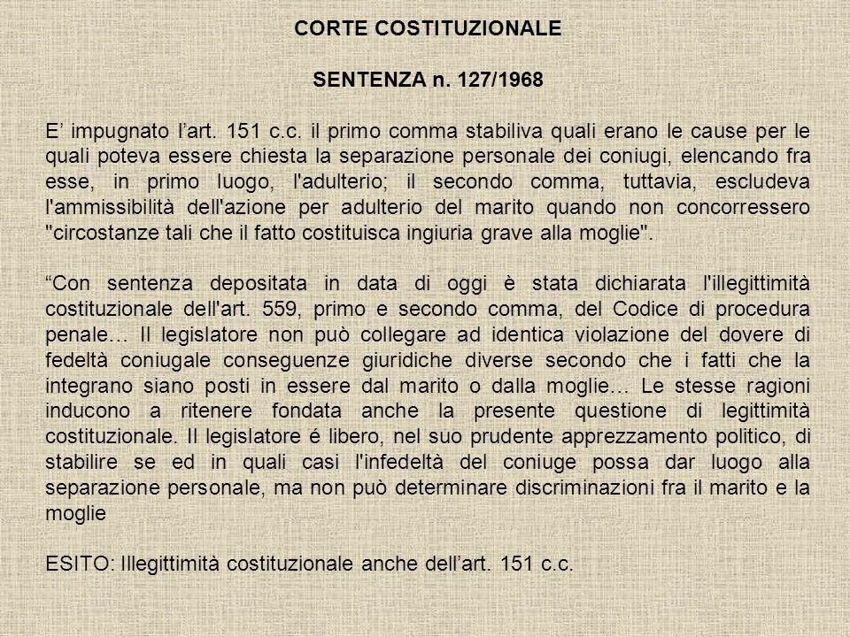CORTE COSTITUZIONALE SENTENZA n. 127/1968.
