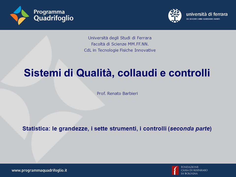 Sistemi di Qualità, collaudi e controlli