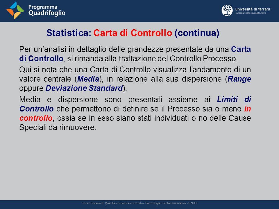 Statistica: Carta di Controllo (continua)