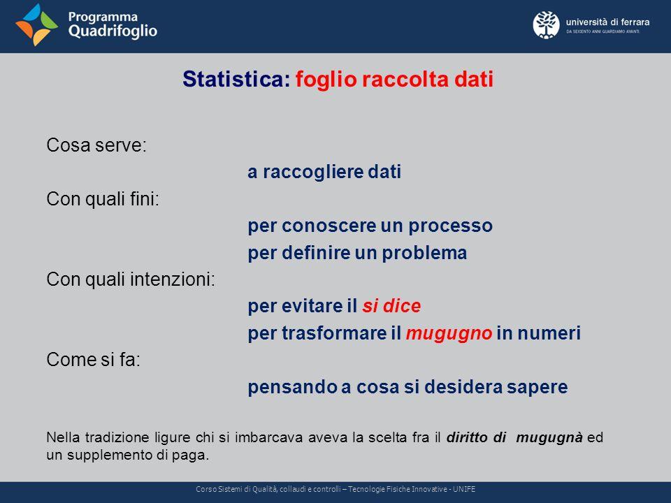 Statistica: foglio raccolta dati