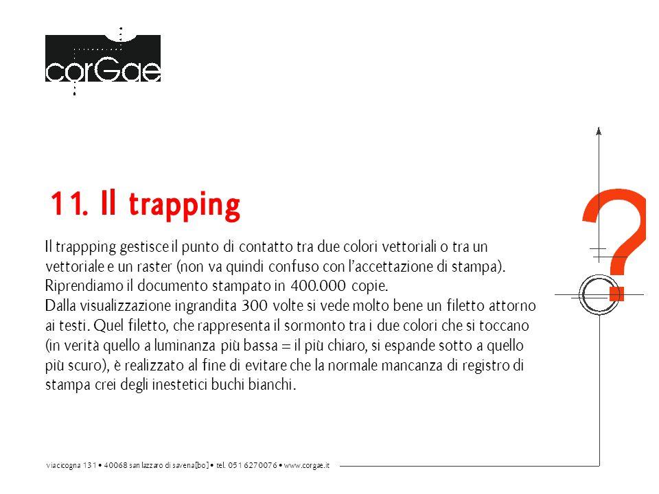 11. Il trapping Il trappping gestisce il punto di contatto tra due colori vettoriali o tra un vettoriale e un raster (non va quindi confuso con l'accettazione di stampa).