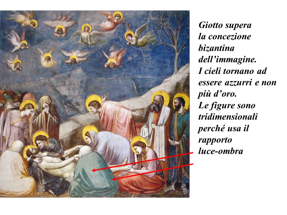 Giotto supera la concezione. bizantina dell'immagine. I cieli tornano ad essere azzurri e non. più d'oro.