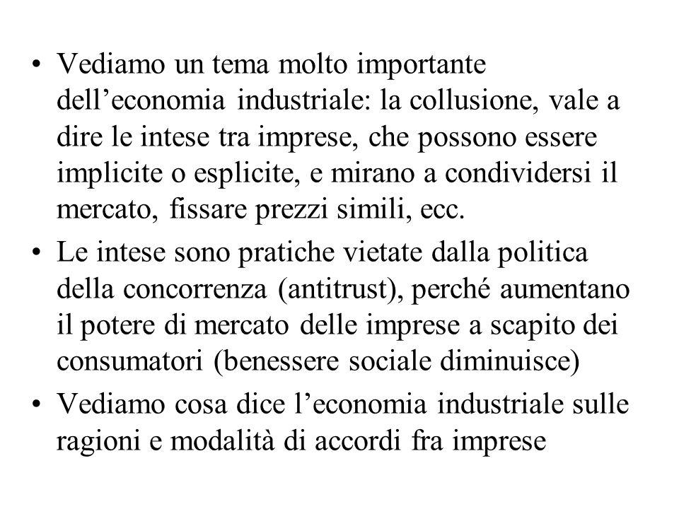 Vediamo un tema molto importante dell'economia industriale: la collusione, vale a dire le intese tra imprese, che possono essere implicite o esplicite, e mirano a condividersi il mercato, fissare prezzi simili, ecc.