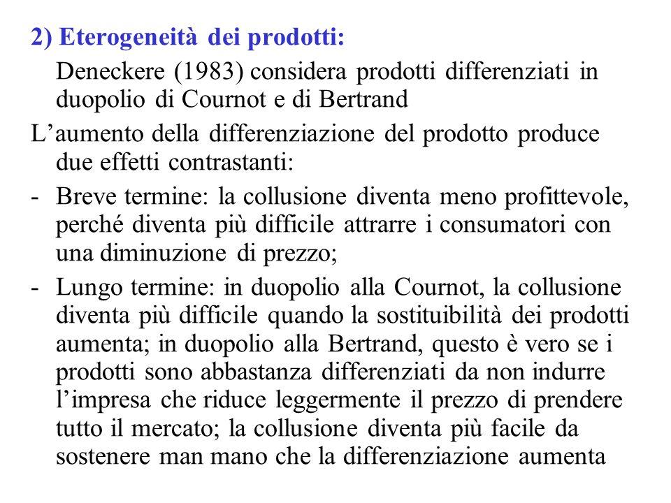 2) Eterogeneità dei prodotti: