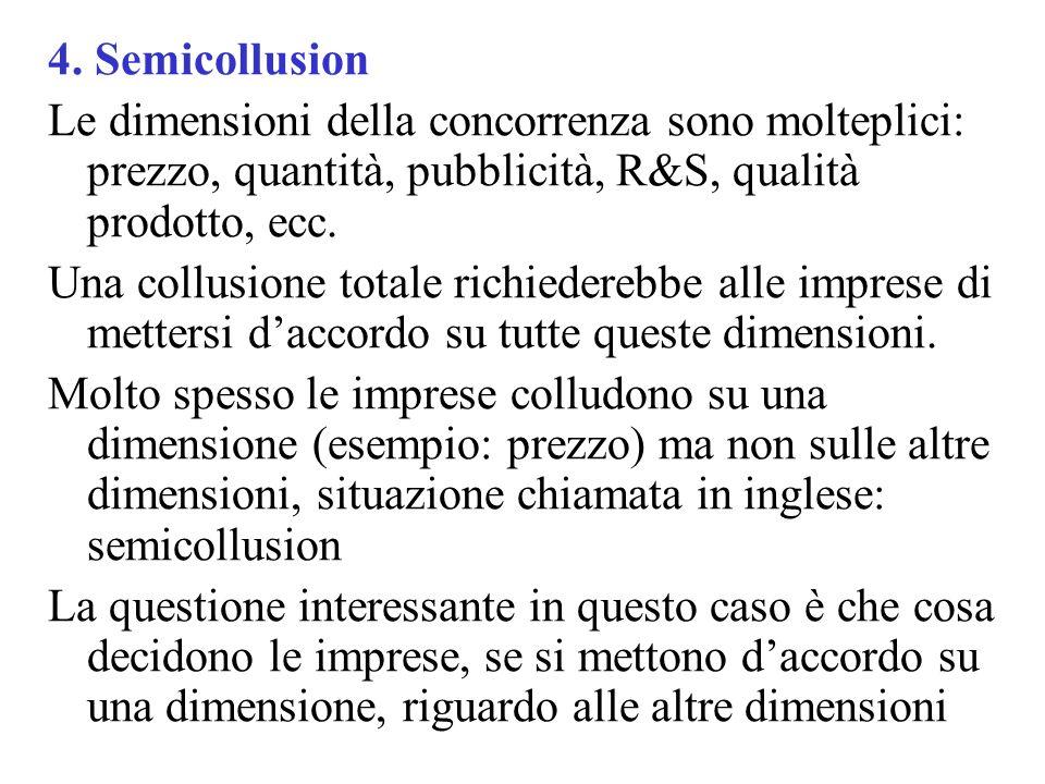 4. Semicollusion Le dimensioni della concorrenza sono molteplici: prezzo, quantità, pubblicità, R&S, qualità prodotto, ecc.